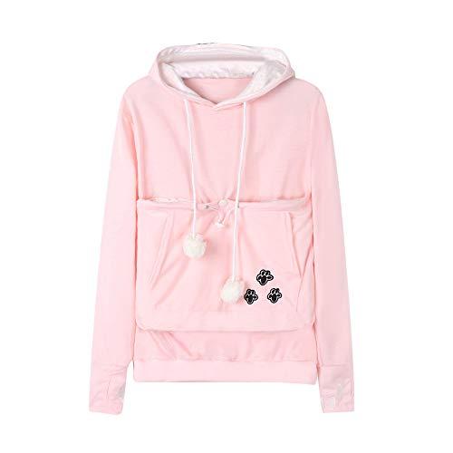 - XOWRTE Women's Sweatshirt Large Pocket Hoodie Pullover Tops Pet Dog Cat Holder Carrier Pouch