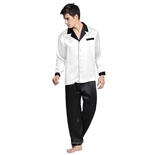 Men Silk Pajamas Set 22 Momme Deep Contra 100% Mulberry Silk Sleepwear  Lilysilk new 999c65e08