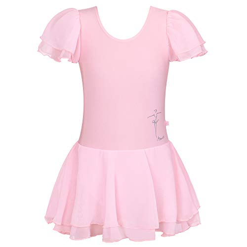 BAOHULU Toddlers Ruffle Short Sleeve Tutu Ballet Leotards for Girls 3-14 Years B111_Pink-6A