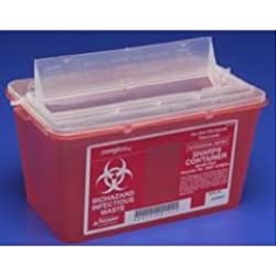 "Kendall 8881676285 Monoject Sharps-A-Gator Chimney-Top Sharps Biohazard Waste Container, 8 qt Capacity, 10-71/128"" Length x 6-3/4"" Width x 10-113/128"" Height, Medium, Red (Case of 20)"
