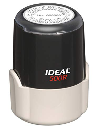 (HUBCO Ideal 500R Professional Architect Seal Stamp (1.75-inch Image Size, Black) | Oklahoma)