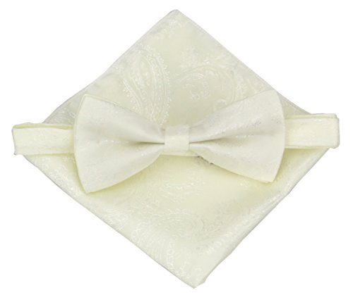 Various Paisleys Mens Silk Bowtie and Pocket Square Set (Ivory)