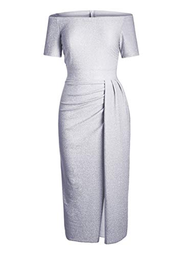 HUUSA Sexy Prom Cocktail Sequin Dresses Party for Womens Formal Wedding Evening Gowns Metallic Short Sleeve Elegant Dress Medium Grey