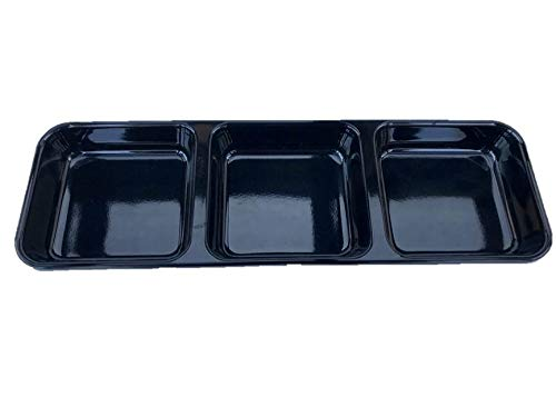 (Z Moments Melamine 3-Compartment Divided Soy Sauce Dishes Plates Spicy Mustard Wasabi Sashimi Rectangular, 8-3/4