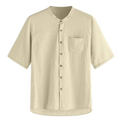 Mens Casual Linen Shirt Tronet Men's Baggy Stripe Cotton Linen Short Sleeve Button Pocket T Shirts Tops Blouse ()