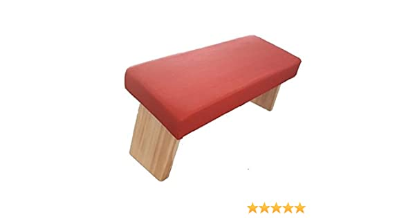 Jnana Yoga Banco de meditación Plegable, con Bolsa para Transporte de algodón 100% ecológico, Madera Maciza, fabricación Europea