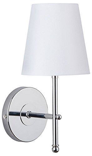Tamb Wall Sconce 1-Light Fixture with Fabric Shade - Chrome - Linea di Liara LL-SC201-PC