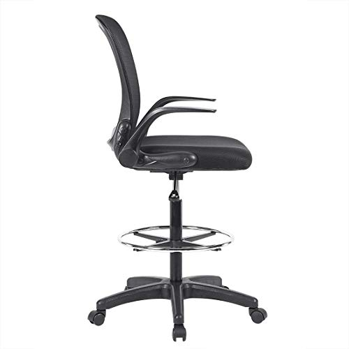 Ulikit Ergonomic Black Mesh Drafting Chair, Office Adjustable Chair Drafting Stool with Adjustable Foot Rest with Arm by Ulikit (Image #1)