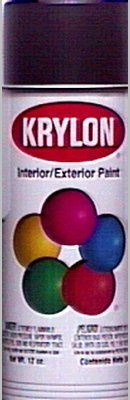 Krylon 51613 Satin Black Interior and Exterior Decorator Paint - 12 oz. (Krylon Satin)