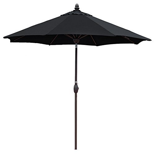 Sunbrella Patio Umbrella 9 Feet Outdoor Market Table Umbrella with Auto Tilt, Crank and Umbrella Cover, Canvas Black