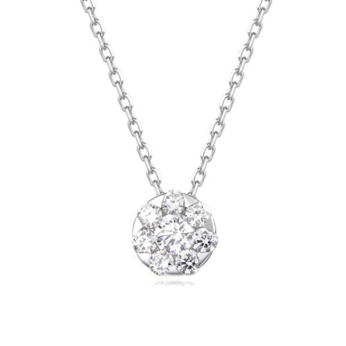 Carleen 18k Solid White Gold Round Flower Diamond Solitaire Pendant Necklace for Women Girls (0.285cttw, I-J Color, SI Clarity), 16