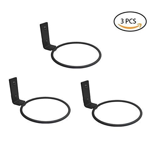 (3 Packs Black Metal Wall Mounted Flower Pot Ring Wall Bracket Pot Holder (S))