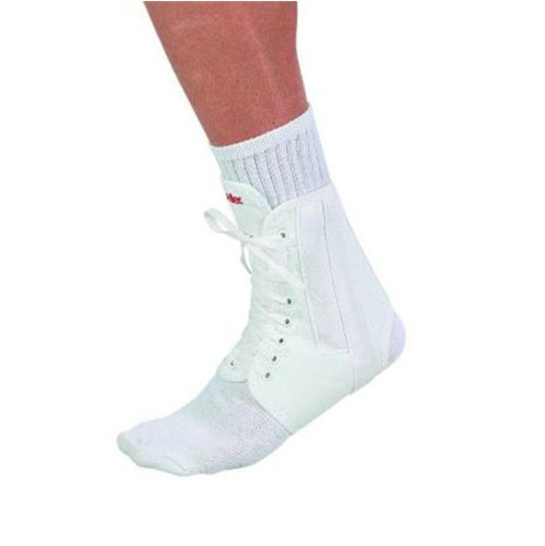 MUELLER #218 WHITE LACE UP ANKLE BRACE SIZE - Lace Up Canvas Ankle Brace