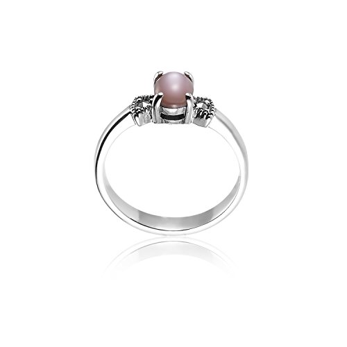 925 Oxidized Sterling Silver Swarovski Marcasite Pink Mother Of Pearl Ring Sizes 8 - Nickle Free
