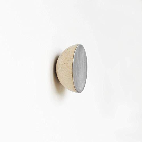 Round Beech Wood \u0026 Aluminium Wall Hook - wall mounted modern Scandinavian style coat hooks