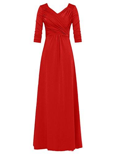 Dresstells®Vestido De Ceremonia Elegante Largo Cuello En V Con Mangas Rojo