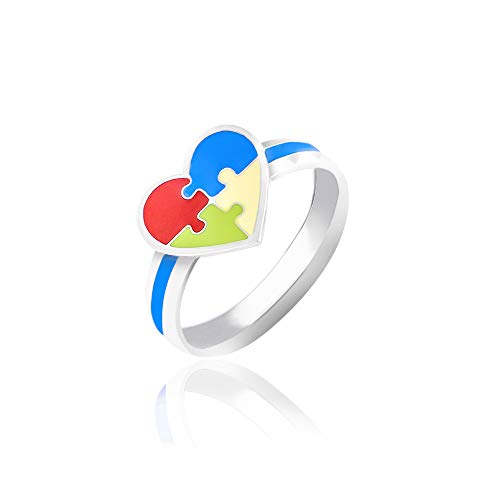 KEMMO Autism Awareness Ring Jewelry - Jigsaw Puzzle Piece Heart Stainless Steel Finger Ring for Mothers, Fathers, Kids, Supporters, Gift or Keepsake (4)