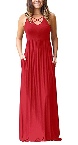 Dresses INFITTY Pockets Red Sleeveless Racerback Dresses Maxi Women's Long with Loose Plain Casual 6URYq6
