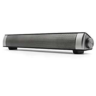 Bingxue Sound Bar,Bluetooth Soundbar TV Speakers-10W Wired and Wireless Connection,Built-in Mic,TF Card/AUX/BT Input Modes for PC Cellerphone Tablets Desktop (Silver)