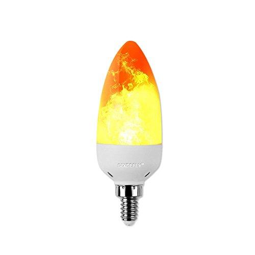 SIXDEFLY E12 LED Flame Mode Effect Candelabra Light Bulb Fire Flickering Emulation Candelabra 2W(1300K Warm White) Vintage Atmosphere Decoration