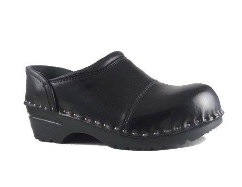 Troentorp Women's Båstad Steel Toe Picasso Black Leather Clogs 40 EU