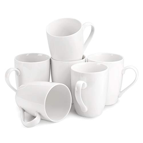 MECOWON 12 OZ Porcelain Mug Set - 6Packs Tea and Coffee Mugs, White