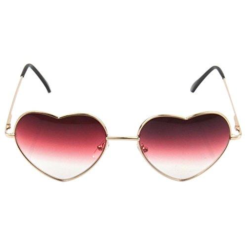 Gradient Sunglasses - SODIAL(R)Gradient Colored Sunglasses Cute Heart-Shaped Glasses£¨color: Red£