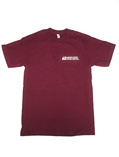 USPS Post Office Maroon Burgundy T-Shirt Postal Logo ON Front & Back