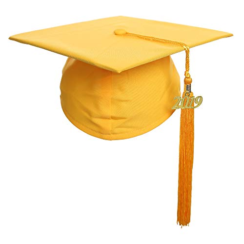 Newrara Graduation Unisex Matte Adult Graduation Cap with Tassel (Yellow) ()