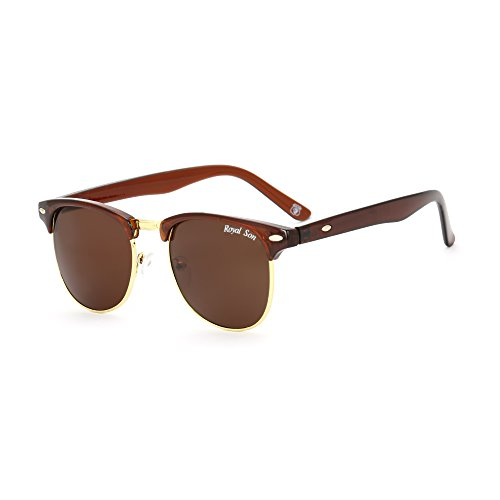 Royal Son UV Protected Clubmaster Round Unisex Sunglasses (RS0010CM   51   Brown Lens)
