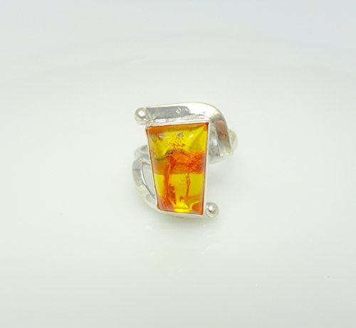 Real Natural Baltic Amber Ring, Unique Design, Size 6.5 Sterling Silver by Handmade Studio HS15730