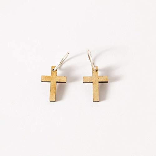 EYA ERO. Pendientes de aro de plata con cruz de madera. Pendientes originales. Hecho en España.: Amazon.es: Handmade