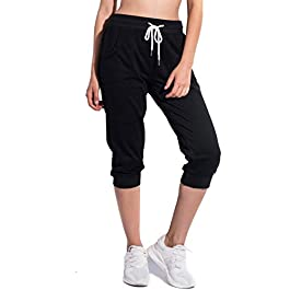 SPECIALMAGIC Women's Sweatpants Cropped Jogger French Terry Running Pants Lounge Loose Fit Drawstring Waist with Side Pockets