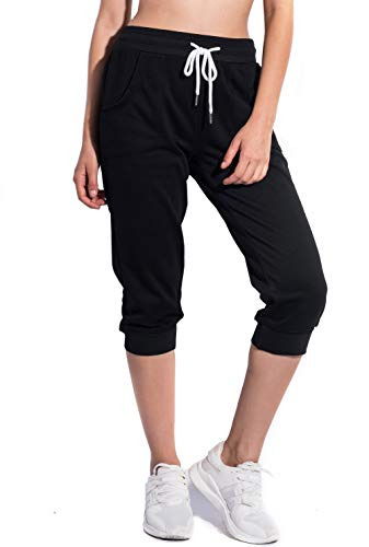 - SPECIALMAGIC Women's Sweatpants Cropped Jogger French Terry Running Pants Lounge Loose Fit Drawstring Waist with Side Pockets Black Large