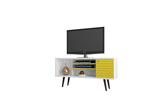 Manhattan Comfort Liberty Collection Mid Century Modern TV Stand With One Cabinet and Three Open Shelves and One Cubby With Splayed Legs, White/Yellow