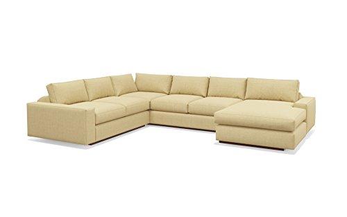 TrueModern Jackson Corner Sectional Fabric Sofa with Chaise, Walnut Finish, Right Facing, 104