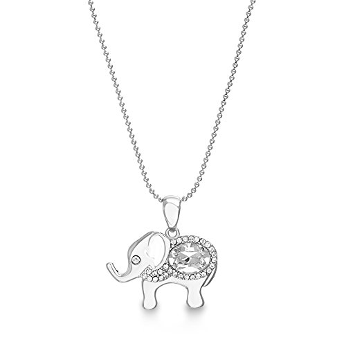 Swarovski Elephant Necklace - Devin Rose Elephant Pendant Necklace for Women made with Swarovski Crystal in 925 Sterling Silver (White)