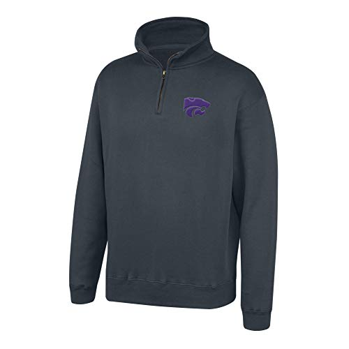 (Top of the World NCAA Men's Kansas State Wildcats Dark Heather Classic Quarter Zip Pullover Charcoal Heather Large)