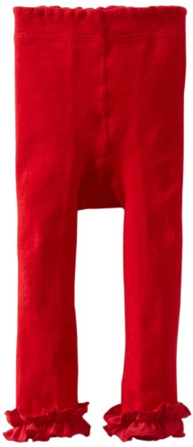 (Jefferies Socks Baby-Girls Infant Pima Ruffle Footless Tight, Red, 0-6 Months)