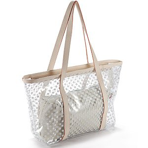 white ladies Polka Dot PVC transparent jelly beach bag detachable ...