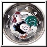 Billy Joe Homewares 7806 Enamel Kitchen Strainer Green Tail Rooster