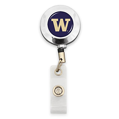 FTH Washington Huskies Badge Reel with Alligator Clip