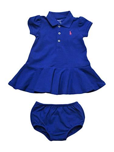 - Ralph Lauren Baby Girls Polo Dress Pique Cotton Playwear (12 Months, New Iris Blue)