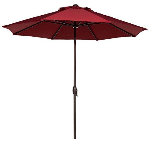 Abba Patio 11-Feet Outdoor Market Umbrella with Push Button Tilt and Crank, 8 Ribs, Red