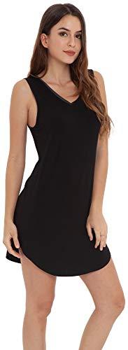 LazyCozy Women's Bamboo Nightgown Sleeveless Nightshirt Soft Sleepwear, Black, Medium