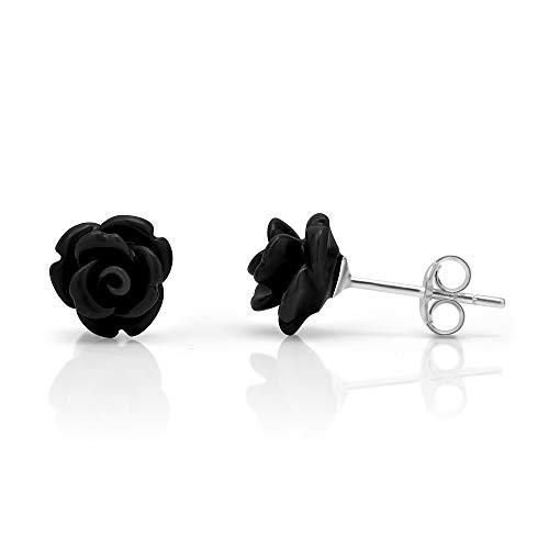 925 Sterling Silver Tiny Black Rose Flower 9 mm Post Stud Earrings