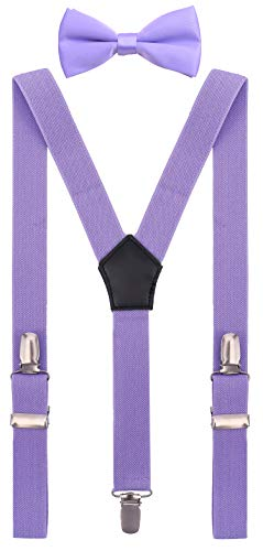 YJDS Baby Leather Suspenders and Bowtie Set Y Shape Lavender 24 ()