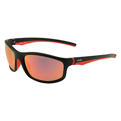 JOJEN Polarized Sports Sunglasses for men women Baseball Running Cycling Fishing Golf Tr90 ultralight Frame JE001 (Black&Red Frame Red REVO Lens)