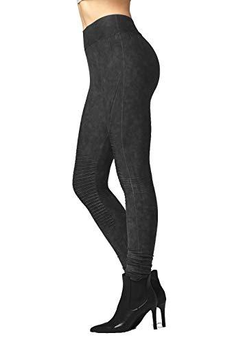Premium High Waisted Moto Leggings/Jeggings for Women - Vintage Wash Black - Plus 2X / 3X