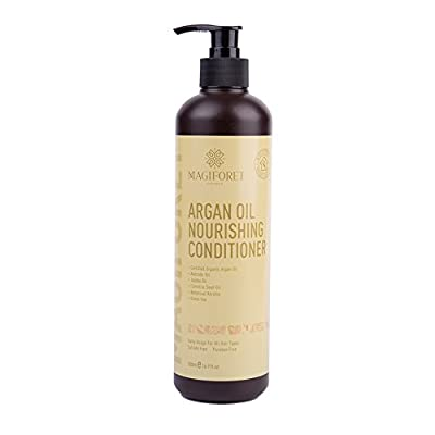 MagiForet Natural Hair Conditioner Argan Oil Sulfate Free Treatment for Dry and Damaged Hair Silk Amino Acids Jojoba & Keratin All Hair Types Women & Men & Teens Safe for Color Treated Hair 16.9oz